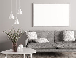 Interior of living room with sofa and mock up poster 3d rendering