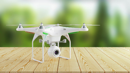 White modern drone on wooden table on background of nature