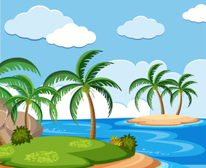 Background scene with coconut trees on island