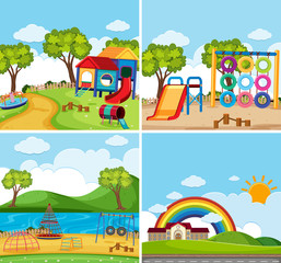 Four background scenes with playground in the park