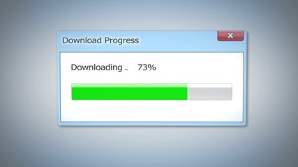 Dialog window with download progress, status bar completed in three quarters