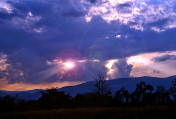 sky, sunset, cloud, clouds, sun, landscape, nature, sunrise, light, blue, evening, night, weather, beauty, rainbow, mountain, summer, color, storm, dark, orange, rain, red, bright, morning