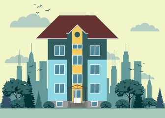 three-floor house facade, tree, street, sky and clouds. Stock flat vector illustration.