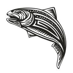 Trout fishing emblem