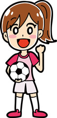 女子サッカー選手のイラスト素材