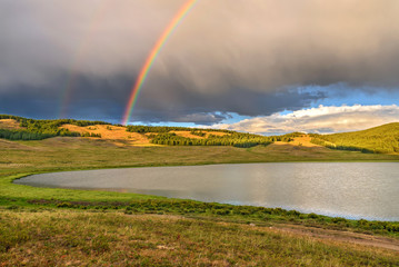 mountains lake rainbow clouds summer