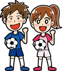 サッカーをする男性・女性のイラスト素材