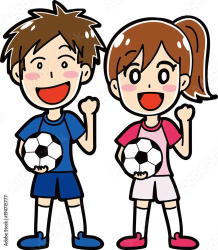 サッカーをする男性女性のイラスト素材 Stock Image And Royalty Free