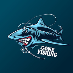 Toothy great white shark fishing logo. Strong shark sports mascot emblem. Angry fish vector background.