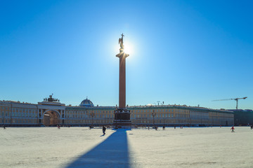 panorama of the Palace Square in St. Petersburg in winter day