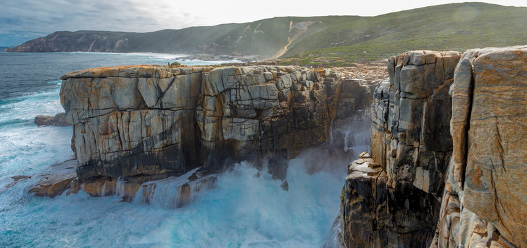 Waves crashing into The Gap in the Torndirrup National Park, Albany Western Australia