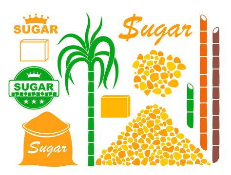 Sugar set. Isolated sugar on white background