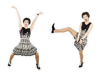 Happy teenager in elegant black and white dress expressive, isolated on white background