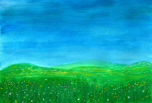 Spring. Green grass with flowers on meadow in watercolor