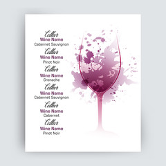 Illustration of wine glass with scattered wine stains. Sample text for menu, wine list or wine tasting.