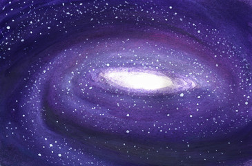 Space background. Pink-purple galaxy in watercolor.
