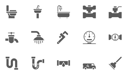 Plumbing and Sanitary Equipment Icons contains Toilet, Sink, Bathtub, Pipe, Water Meter and more.