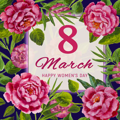 8 March International Women's Day. Greeting card. Pink rose and piones, green leaves on dark background painting illustarion artwork