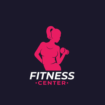 Fitness logo with athletic girl