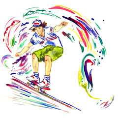 Guy on skateboard, colorful palette splashes background, hand painted watercolor illustration