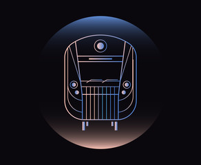 Modern Neon Thin Icon of subway train on Black Background.