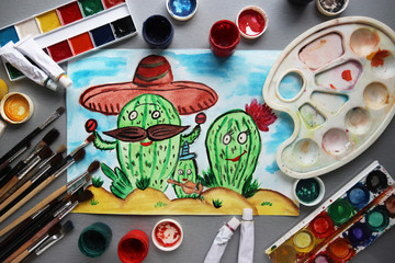 Cactus family with funny faces in the desert. watercolor