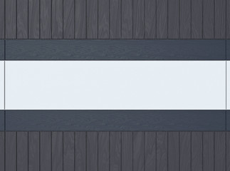 3d rendering. dark gray and blue wood panels decorate on empty copy space board background. can put any message or title at the middle of it.