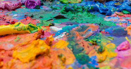bright oil paint palette close up