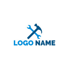 Wrench and hammer icon, logo