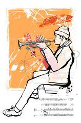 In de dag Art Studio Trumpet player on grunge background