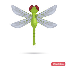 Dragonfly color flat icon