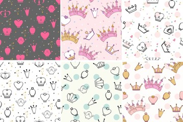 Hand drawing vector seamless patterns with crowns and castle.