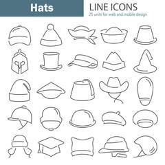 Different hats line icon set