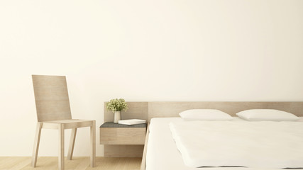 White bedroom and living area in hotel or apartment - Bedroom simple design - 3D Rendering