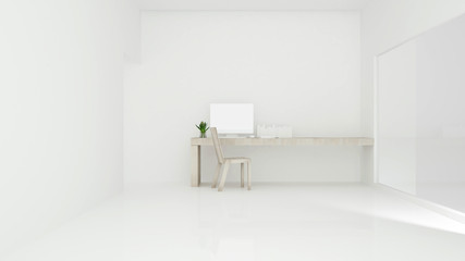 Workplace on sunshine day in hotel or apartment - Study room simple design - 3D Rendering