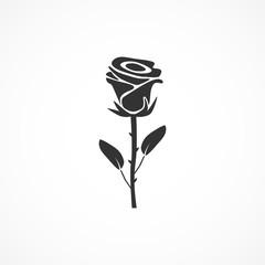 Vector image of rose icon.