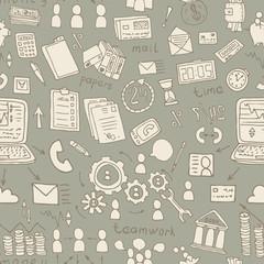 business doodles seamless vector pattern