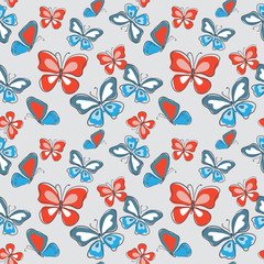 Seamless decorative cute pattern with multicolored butterflies