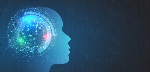 Artificial intelligence with human face. Technology web background. Virtual concept.
