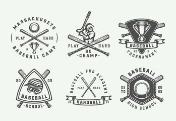 Vintage baseball sport logos, emblems, badges, marks, labels. Monochrome Graphic Art. Illustration.