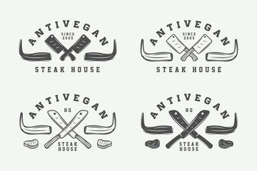 Set of vintage butchery meat, steak or bbq logos, emblems, badges, labels. Graphic Art. Illustration.