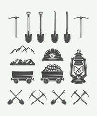 Set of retro mining or construction design elements in vintage style. Monochrome Graphic Art. Vector Illustration.