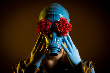 Girl with blue skin and gas mask