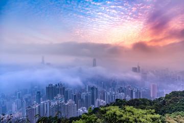 Dramatic misty season in Hong Kong  Wall mural