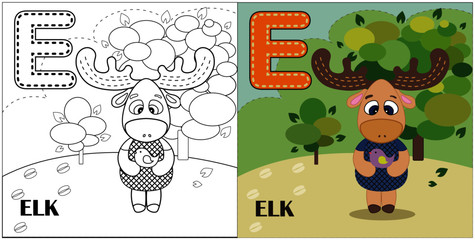 E letter,elk, coloring book or page, vector cartoon. Alphabet