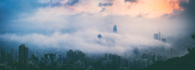 Hong Kong City in Misty Season