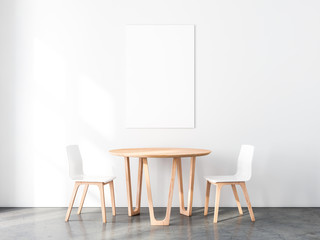 Vertical Poster Mockup with Two wooden chairs and table in empty room. 3d rendering