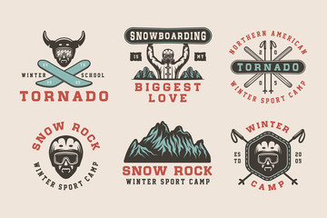 Set of vintage snowboarding, ski or winter sports logos, badges, emblems and design elements. Vector illustration. Monochrome Graphic Art.