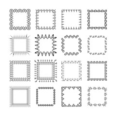 Collection of handdrawn frames. Unique frames for your design. Vector frames.