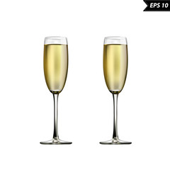 wine glasses with champagne vector illustration isolated on white background